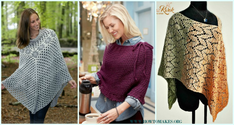 Light Weight Spring Summer Poncho Free Crochet Patterns