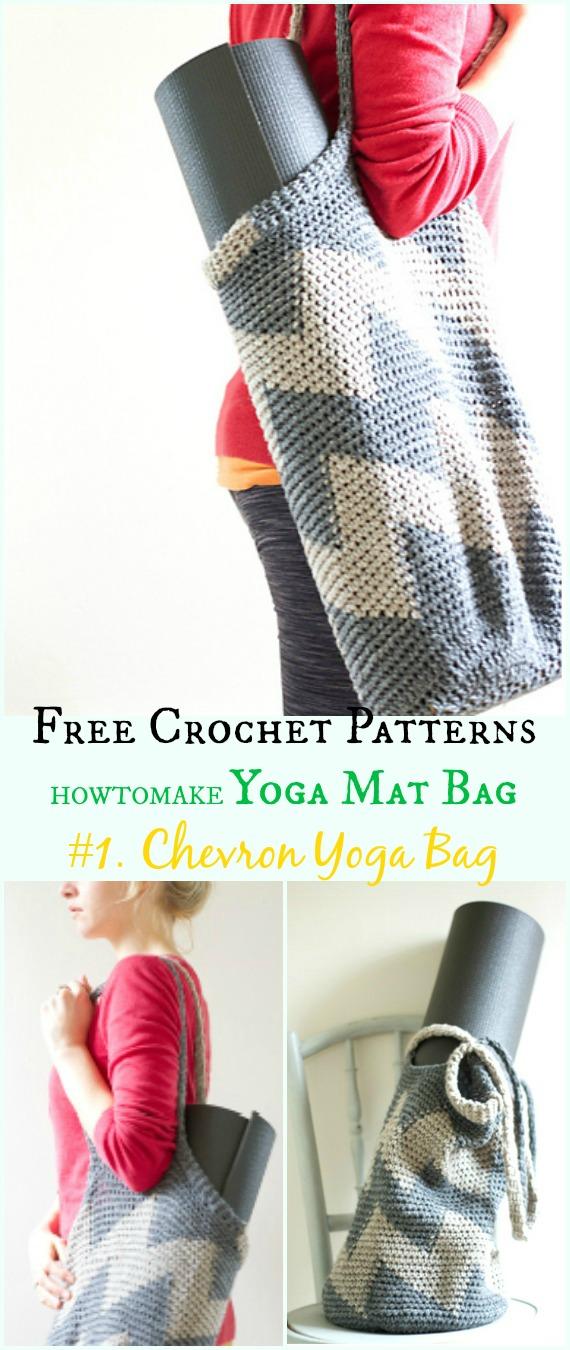 Chevron Yoga Tasche Kostenlose Häkelanleitung - #Crochet;  #Yoga;  Mat Bag Kostenlose Muster