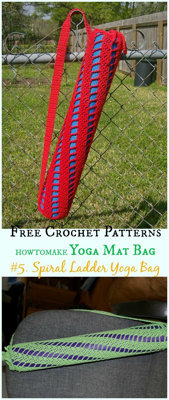 Spiralleiter-Yoga-Tasche Kostenlose Häkelanleitung - # Häkeln;  #Yoga;  Mat Bag Kostenlose Muster