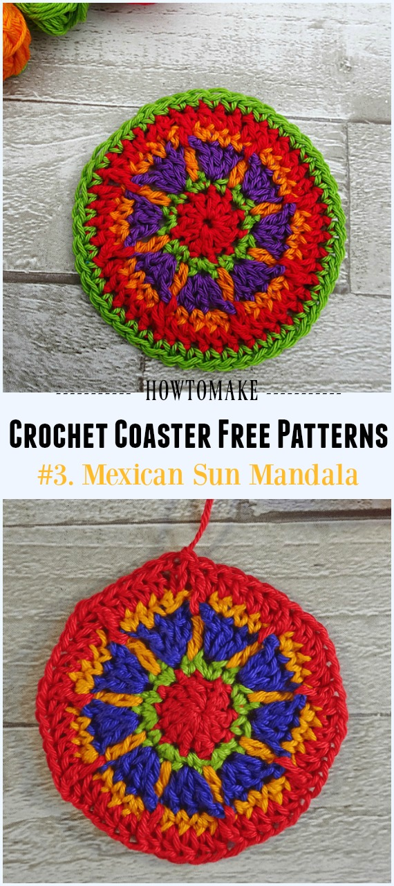 Crochet Mexican Sun Mandala Free Pattern - Easy #Crochet Coaster Free Patterns