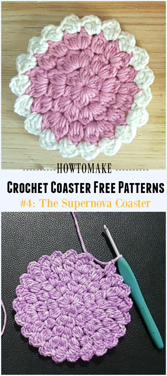 The Supernova Coaster Free Pattern tığ işi - Easy #Crochet Coaster Free Patterns