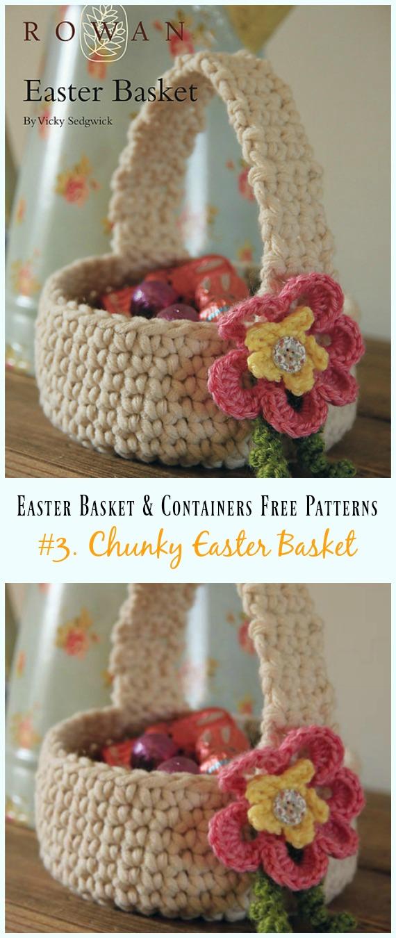 Häkeln Sie Chunky Easter Basket Free Pattern - #Ostern häkeln #Korb & Behälter kostenlose Muster