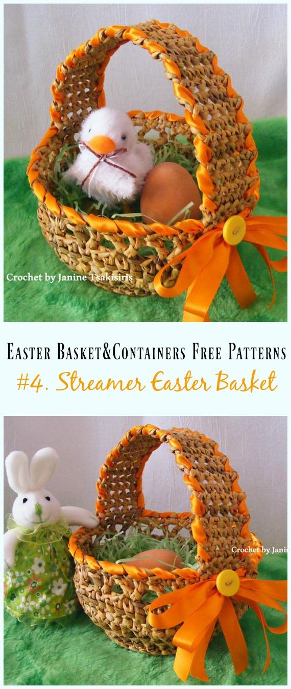 Häkeln Sie Streamer Easter Basket Free Pattern – #Ostern häkeln #Korb & Behälter Free Patterns