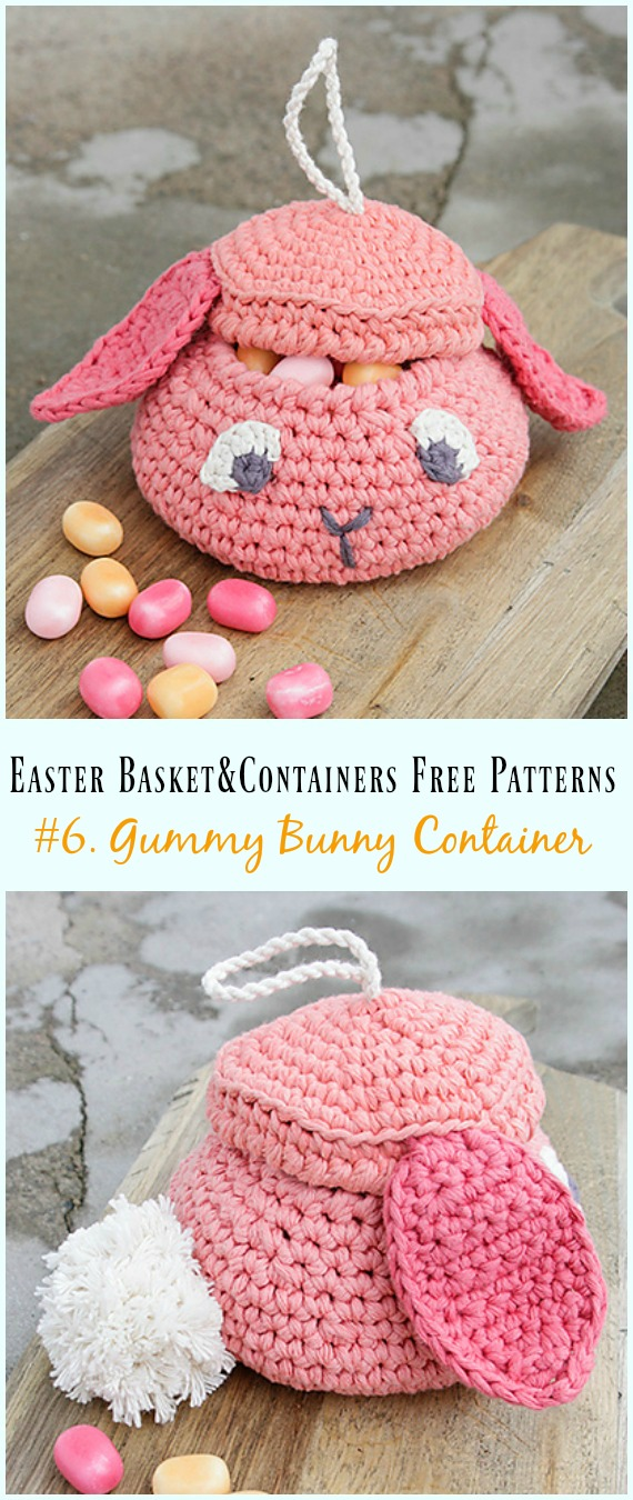 Häkeln Sie Gummy Bunny Container Free Pattern - #Ostern häkeln #Korb & Behälter Free Patterns