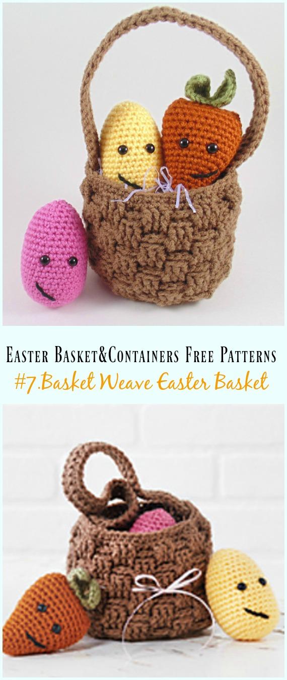 Häkeln Sie Basket Weave Easter Basket Free Pattern – #Ostern häkeln #Korb & Behälter Kostenlose Muster