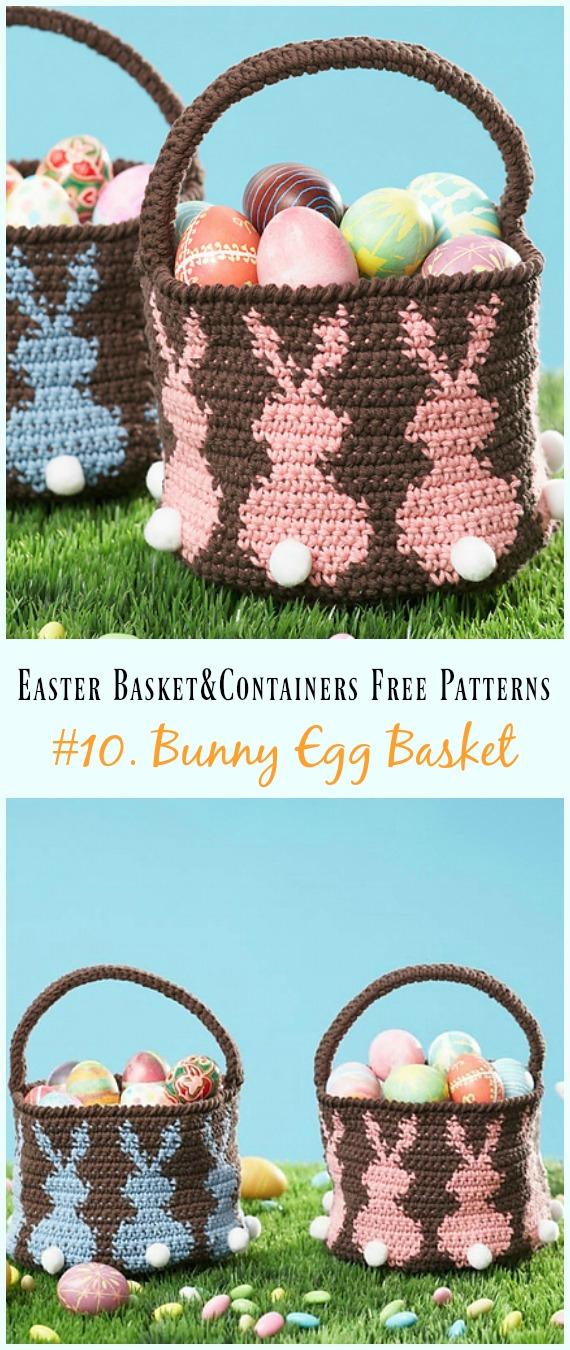 Häkeln Sie Bunny Egg Basket Free Pattern – #Ostern häkeln #Korb & Behälter Kostenlose Anleitungen