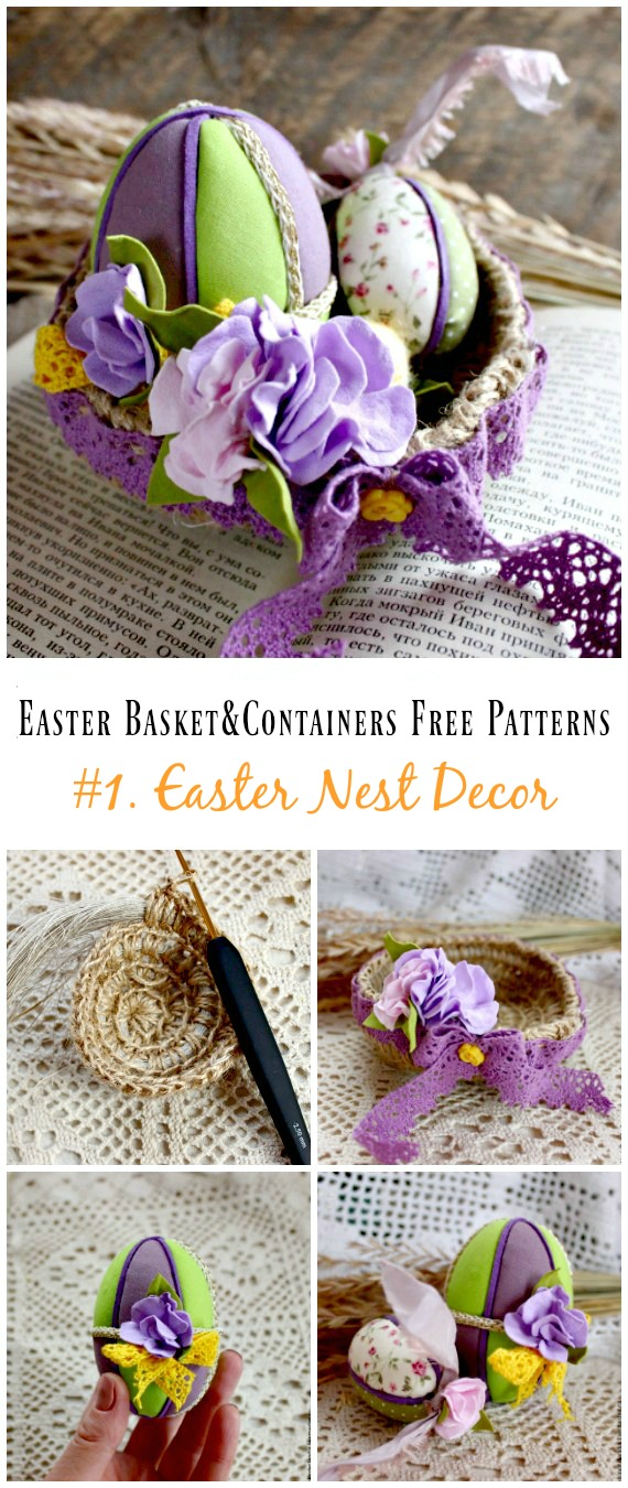 Häkeln Sie Ostern Nest Dekoration Kostenlose Muster - #Ostern häkeln #Korb & Behälter Kostenlose Muster