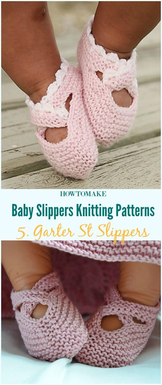 Garter St Chinelos Botas de bebê Padrão de tricô grátis - Bebê # Sapatilhas de sapatilhas grátis # Padrões de tricô