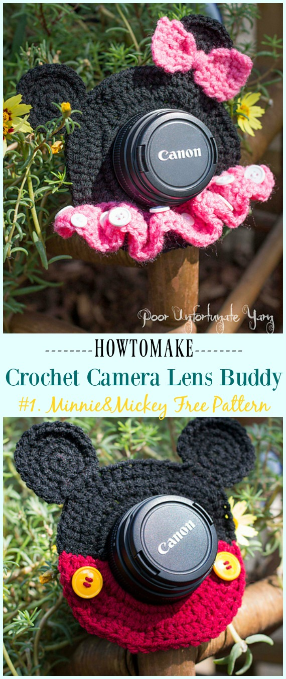 Häkeln Sie Minnie & Mickey Mouse Shutter Buddies Free Pattern – #Häkeln;  Kamera #Objektiv;  Buddy Cosy kostenlose Muster