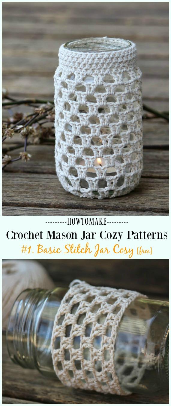 Frasco de crochê de ponto básico padrão aconchegante livre - #Crochê #MasonJar Padrões livres aconchegantes