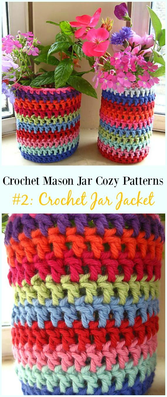 Padrão livre de jaqueta de jarra de crochê - #Crochê #MasonJar Padrões livres de aconchego