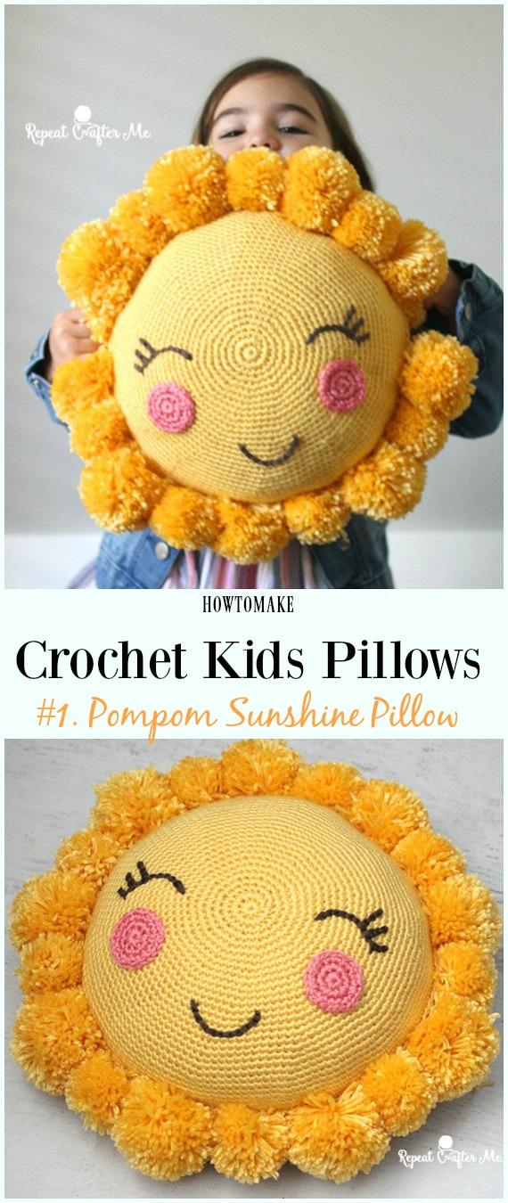Crochet Ponpon Sunshine Pillow Free Pattern -Eğlenceli #Crochet Kids #Pillows Free Patterns