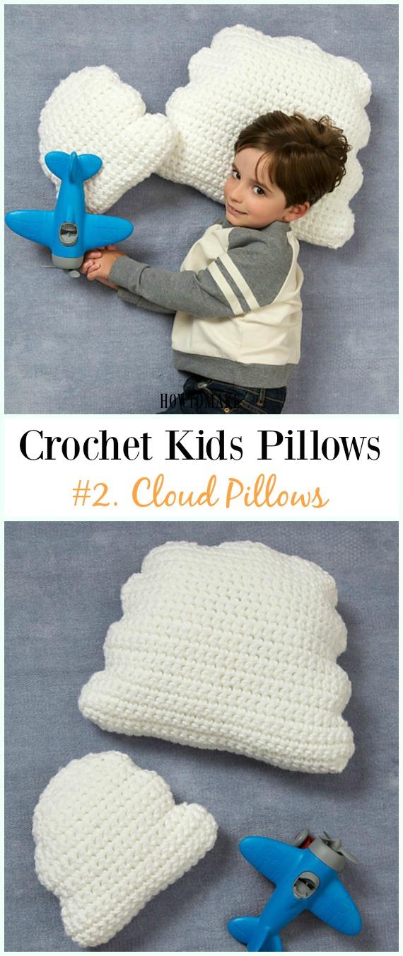 Crochet Cloud Pillows Free Pattern -Eğlenceli #Crochet Kids #Pillows Free Patterns