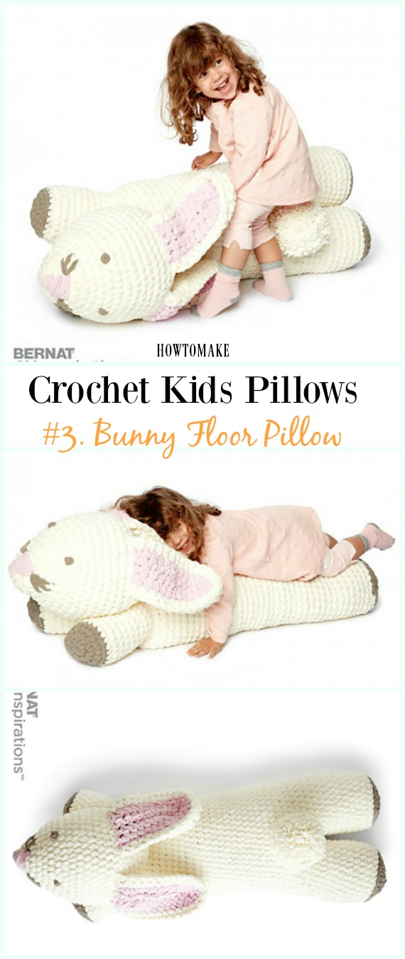 Crochet Bunny Yer Yastığı Free Pattern -Eğlenceli #Crochet Kids #Pillows Free Patterns