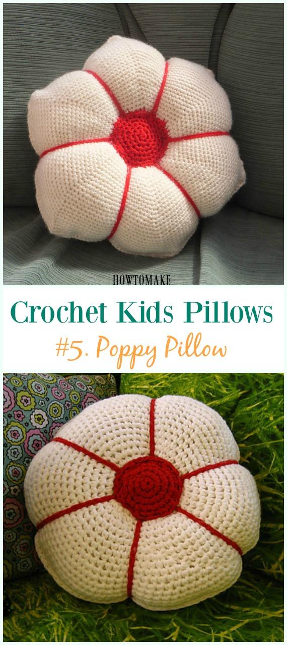 Poppy Flower Pillow Free Pattern -Eğlenceli #Crochet Kids #Pillows Free Patterns