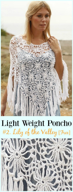 Häkeln Sie Maiglöckchen Poncho Free Pattern-Light Weight Spring Summer #Poncho;  Kostenlose #Häkeln;  Muster