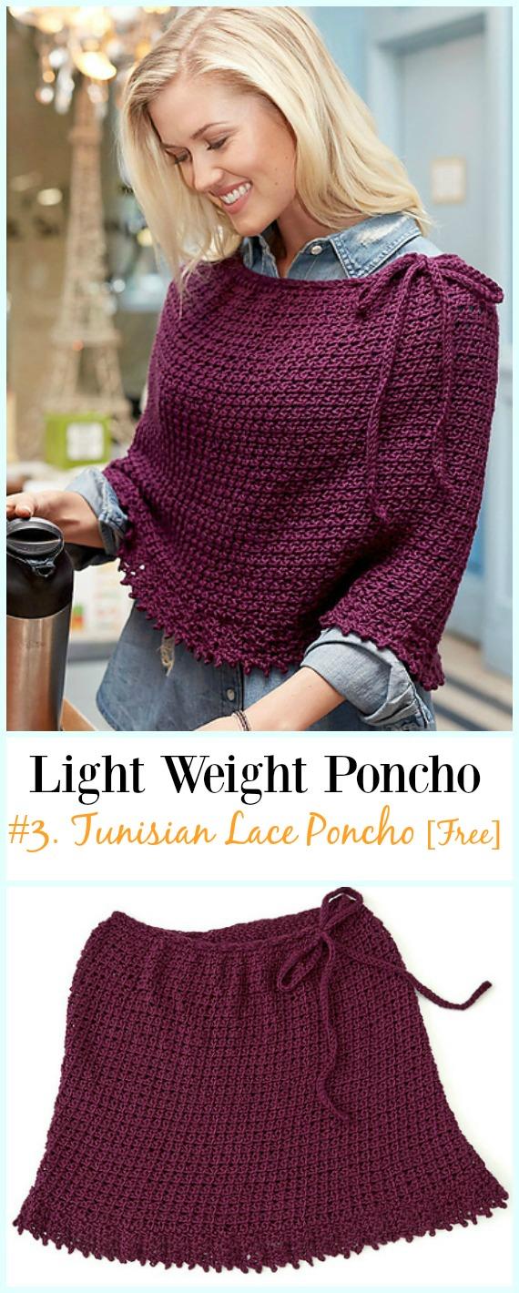 Tunesischer Spitzenponcho häkeln Free Pattern-Light Weight Spring Summer #Poncho;  Kostenlose #Häkeln;  Muster