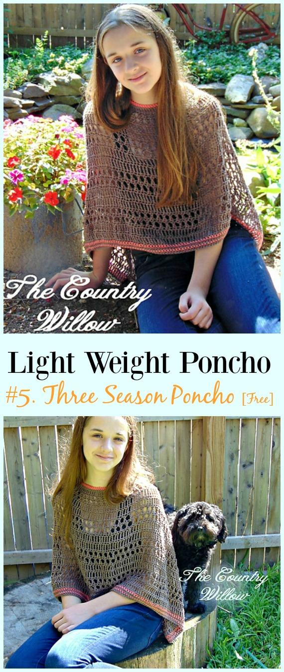 Crochet Three Season Poncho Free Pattern-Light Weight Spring Summer #Poncho;  Kostenlose #Häkeln;  Muster