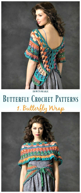 Butterfly Wrap Kostenlose Häkelanleitung - Free #Butterfly;  #Häkeln;  Muster