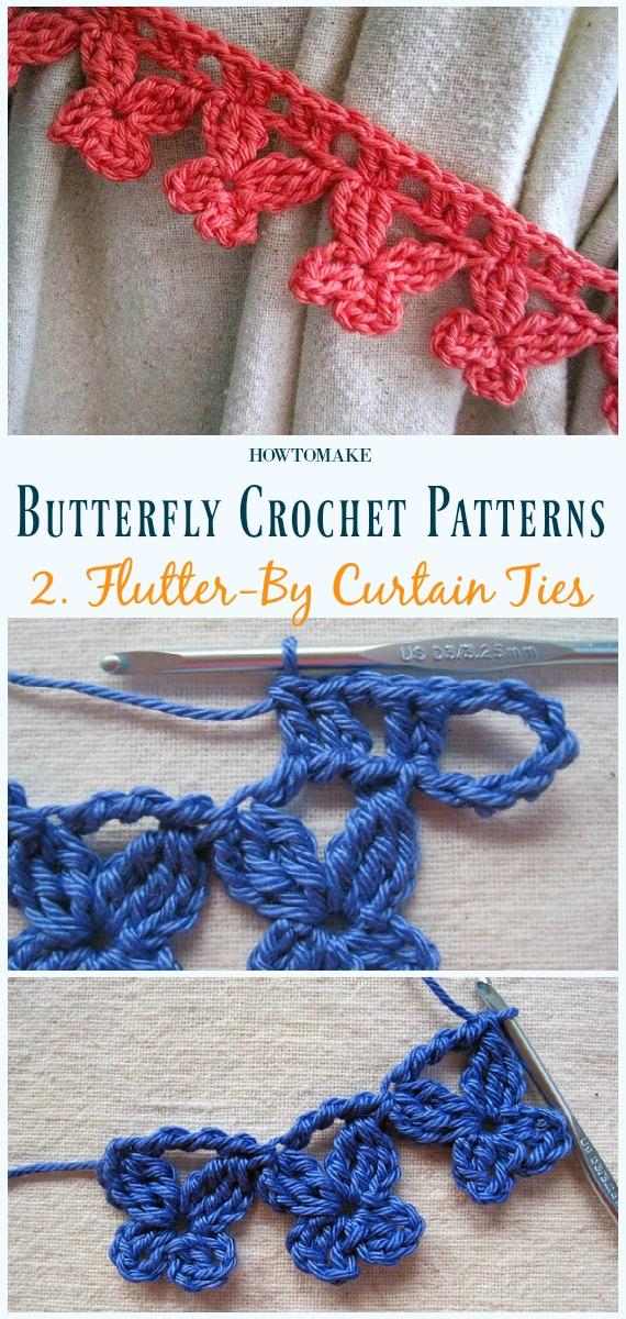 Flutter-By Curtain Ties Kostenlose Häkelanleitung - Free #Butterfly;  #Häkeln;  Muster