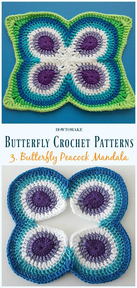 Schmetterlings-Pfau-Mandala Kostenlose Häkelanleitung - Free #Butterfly;  #Häkeln;  Muster