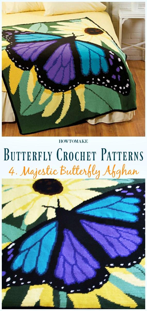 Majestic Butterfly Afghan Free Häkelanleitung - Free #Butterfly;  #Häkeln;  Muster