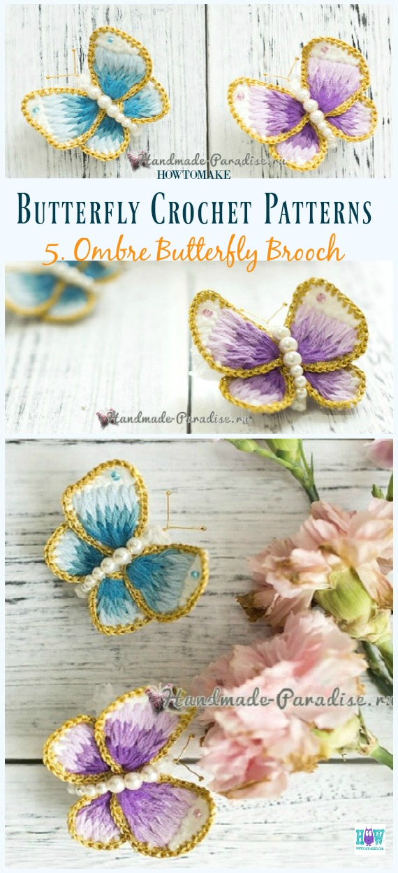 Ombre Schmetterlingsbrosche Kostenlose Häkelanleitung - Free #Butterfly;  #Häkeln;  Muster