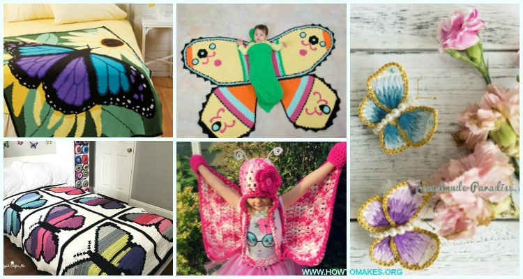 35+ Crochet Butterfly Patterns (Free!) | AllFreeCrochet.com | 400x750
