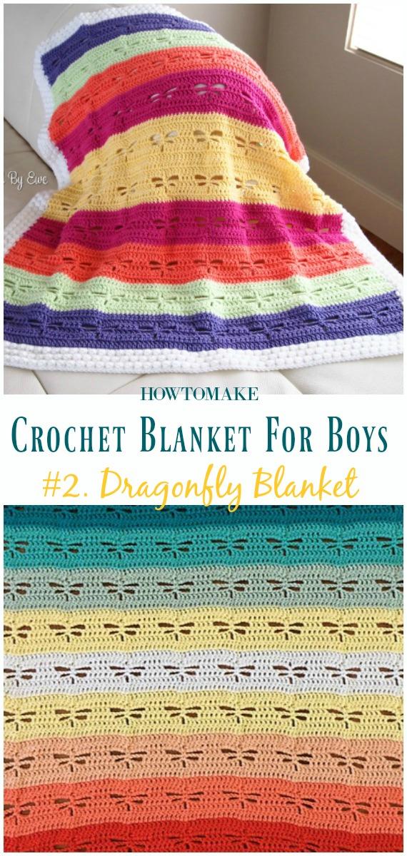 Dragonfly Blanket Free Crochet Pattern- #Crochet;  #Cobertor;  Padrões grátis para meninos