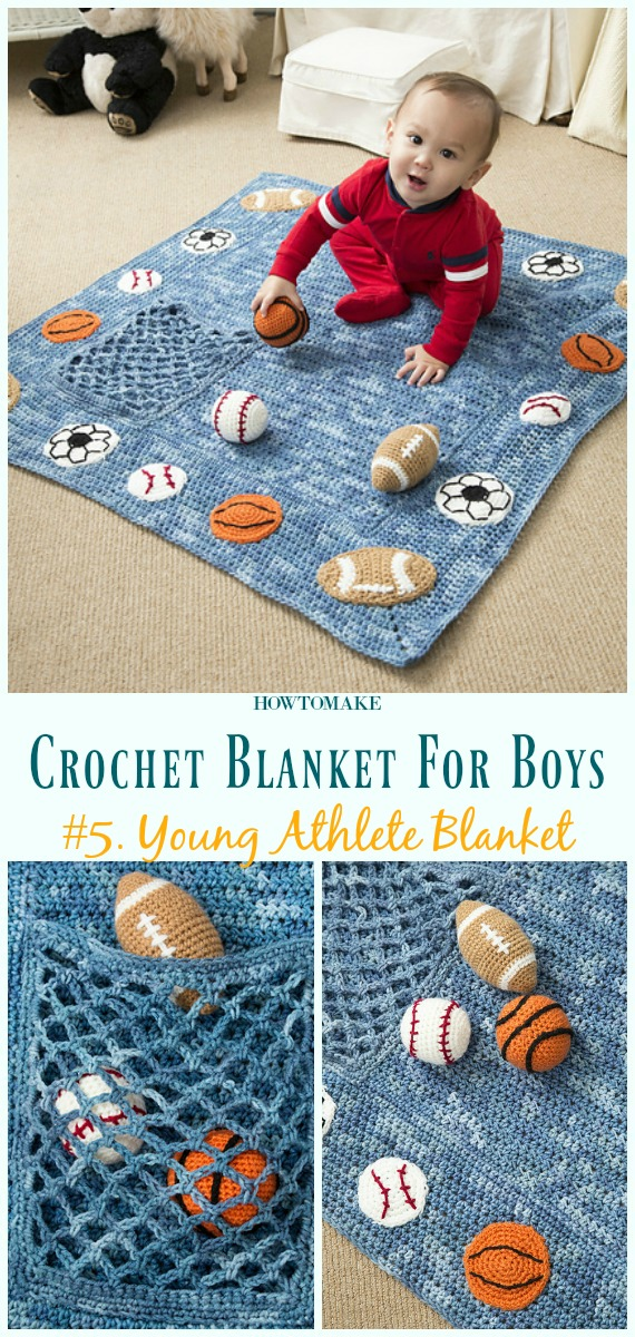Manta de Atleta Jovem e Padrão de Crochê Livre de Chocalhos- #Crochê;  #Cobertor;  Padrões grátis para meninos