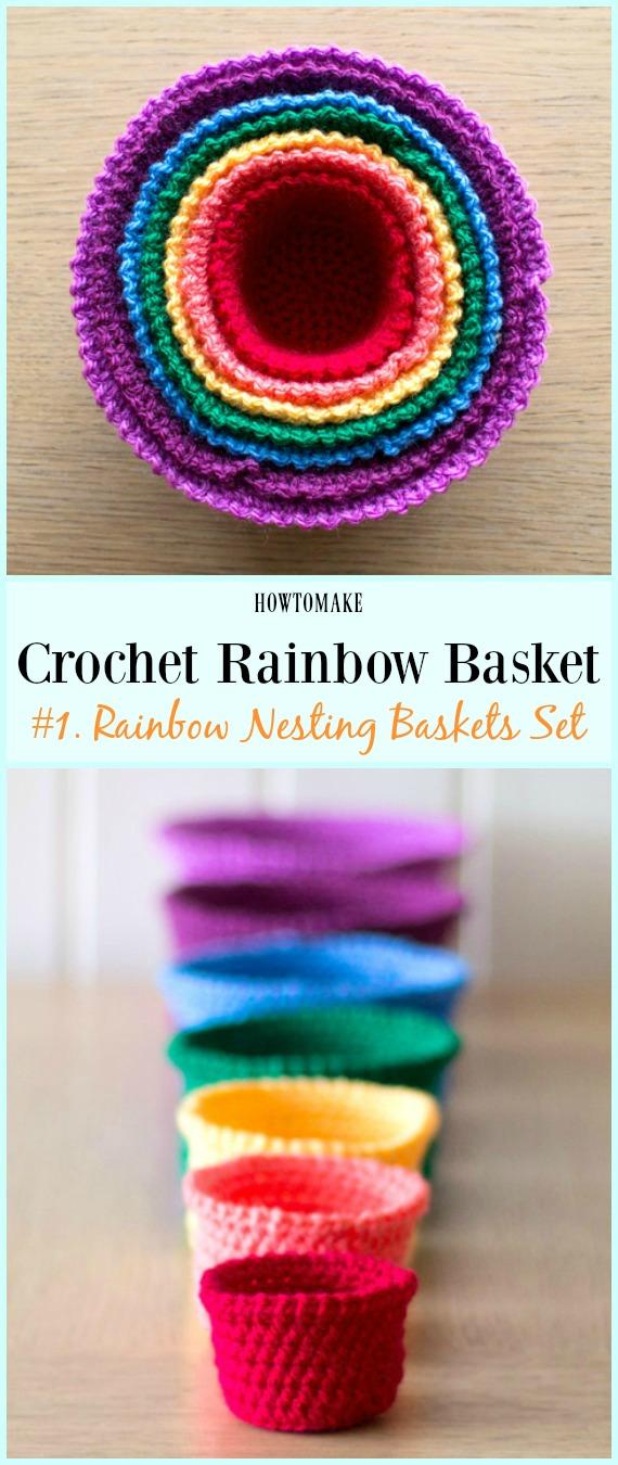 Conjunto de cestos de aninhamento de arco-íris padrão de crochê grátis - #Crochê arco-íris # Padrões de cesta grátis