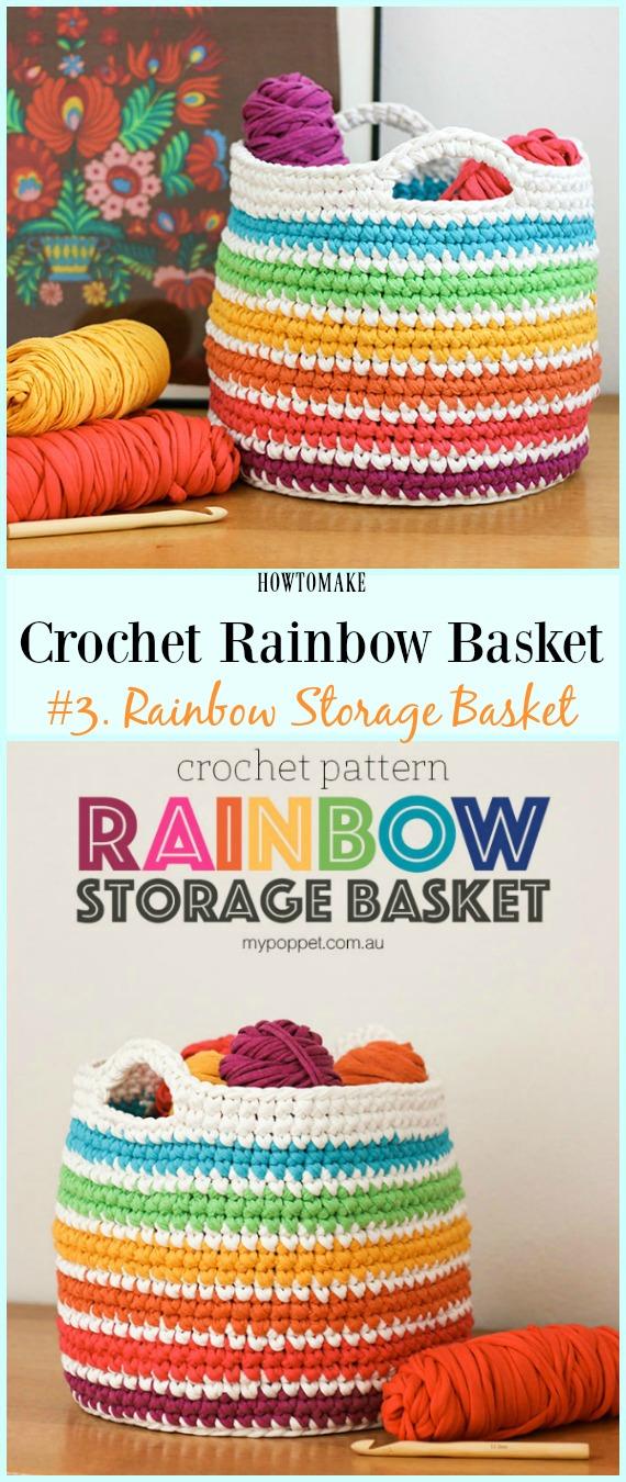 Padrão de crochê grátis para t-shirt de fio arco-íris de cesta - # Arco-íris de crochê # Padrões de cesta grátis