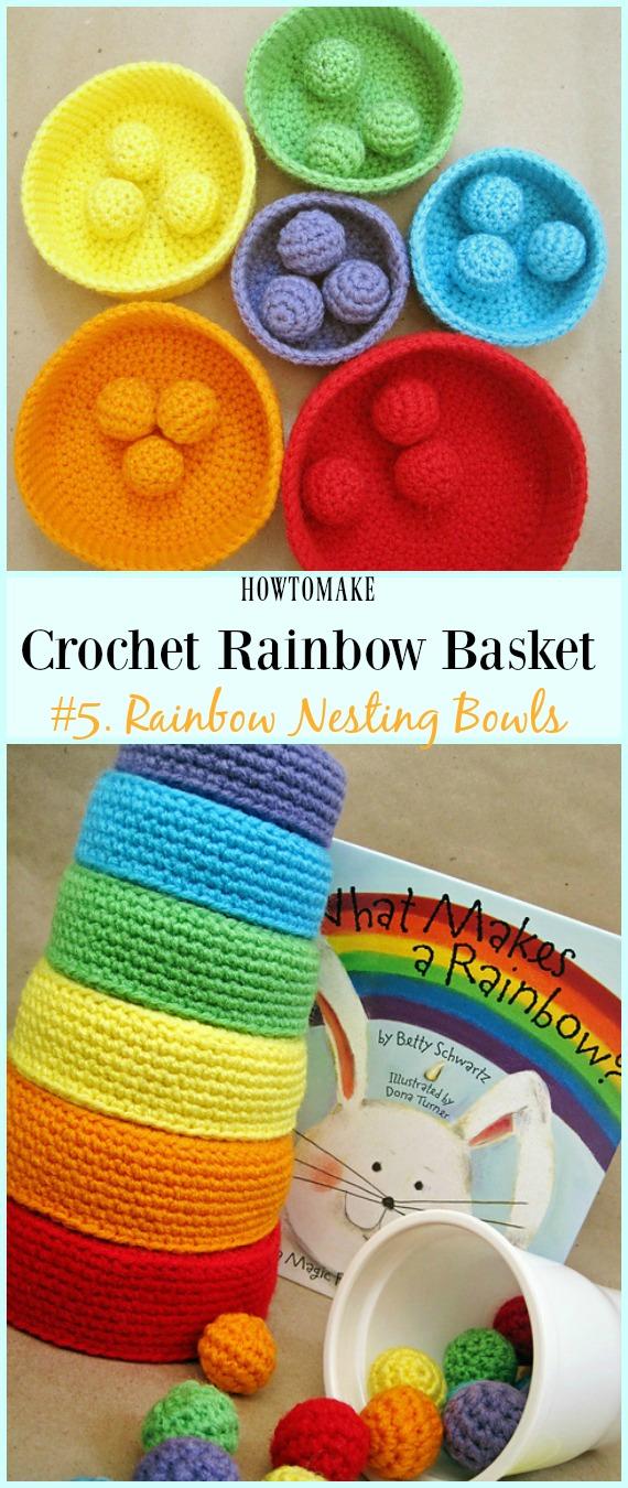 Padrão de Crochê Grátis para Bowls de Nidificação de Arco-Íris - #Crochê Arco-íris # Padrões de Crochê Grátis