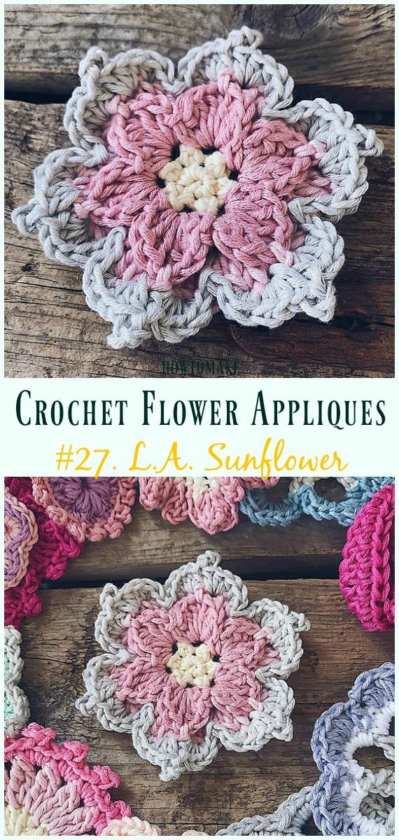 Easy Crochet Flower Appliques Free Patterns For Beginners