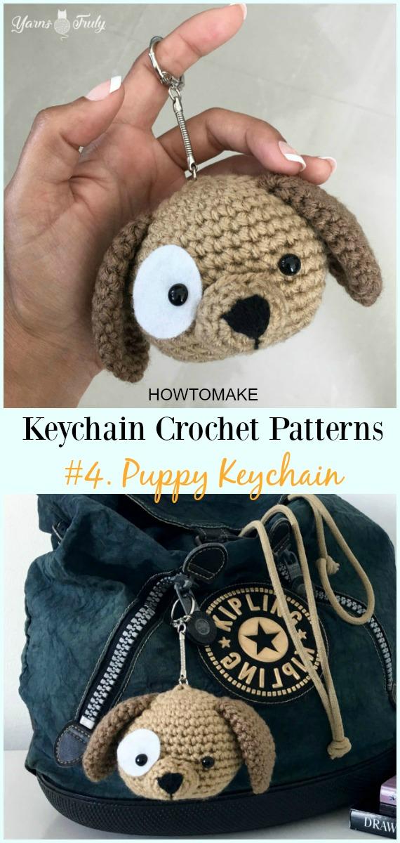 Häkeln Sie Puppy Keychain Free Pattern - #Keychain #Crochet Patterns