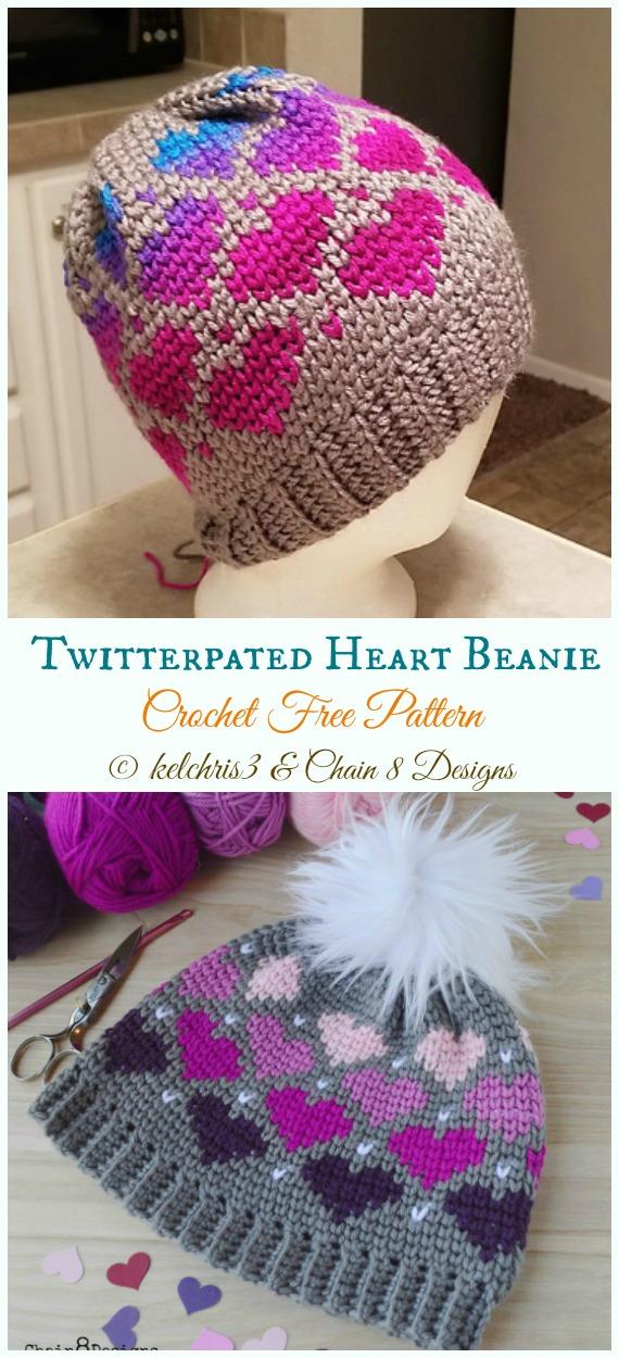 Twitterpated Heart Beanie Hat Crochet Free Pattern -  Valentine  Heart  Beanie  Hat  aac61a3dbf6