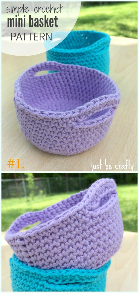 Padrão Simples de Crochê Mini Cesta Grátis - Armazenamento #Basket;  Grátis #Crochet;  Padrões