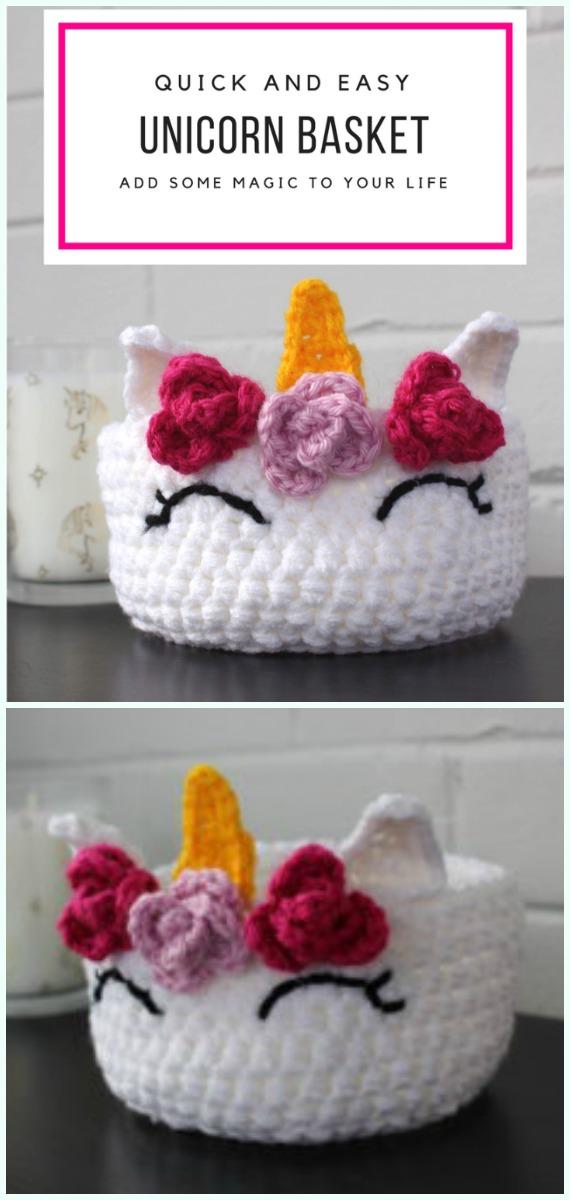 Rápido e fácil Unicorn Basket Free Crochet Pattern - Armazenamento #Basket;  Grátis #Crochet;  Padrões