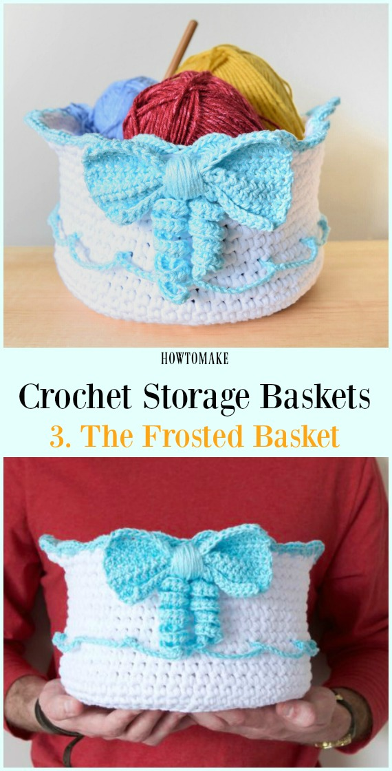 Crochê O Padrão Grátis Cesta Frosted - Armazenamento #Basket;  Grátis #Crochet;  Padrões