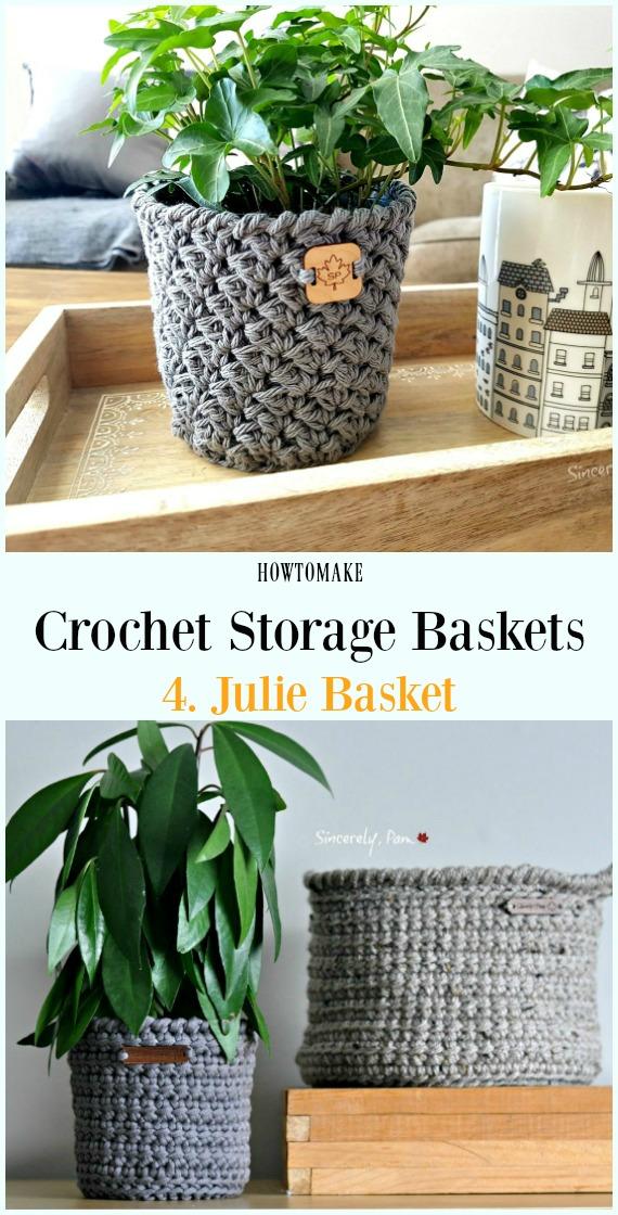 Crochê Julie Basket Free Pattern - Armazenamento #Basket;  Grátis #Crochet;  Padrões
