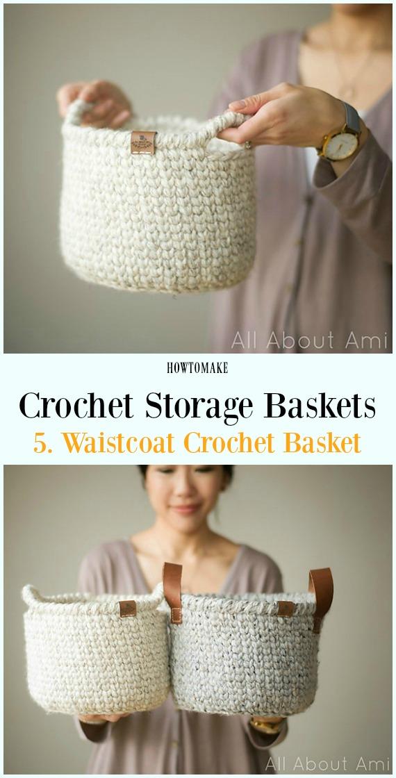 Waistcoat Crochet Basket Free Pattern - Armazenamento #Basket;  Grátis #Crochet;  Padrões