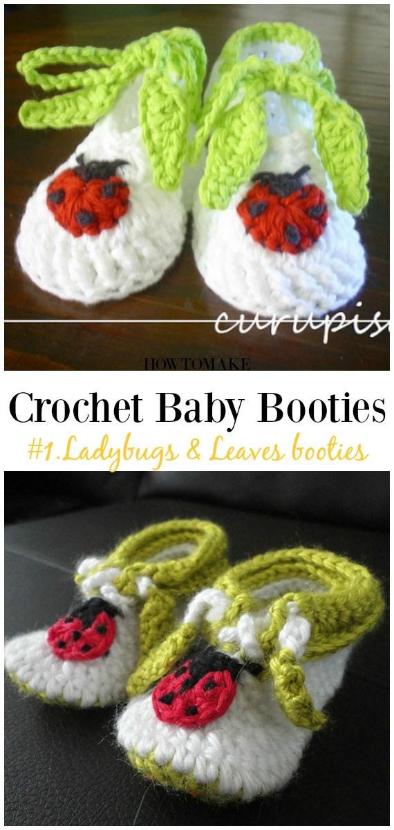 Botinhas de Crochê e Joaninhas Padrão Grátis - Bebê # Botas;  Grátis #Crochet;  Padrões