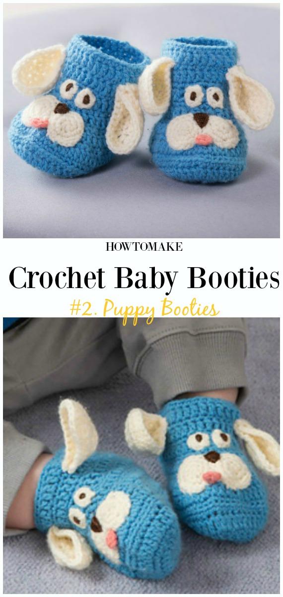 Padrão Grátis de Botas de Filhote de Cachorro de Crochê - Bebê # Botas;  Grátis #Crochet;  Padrões