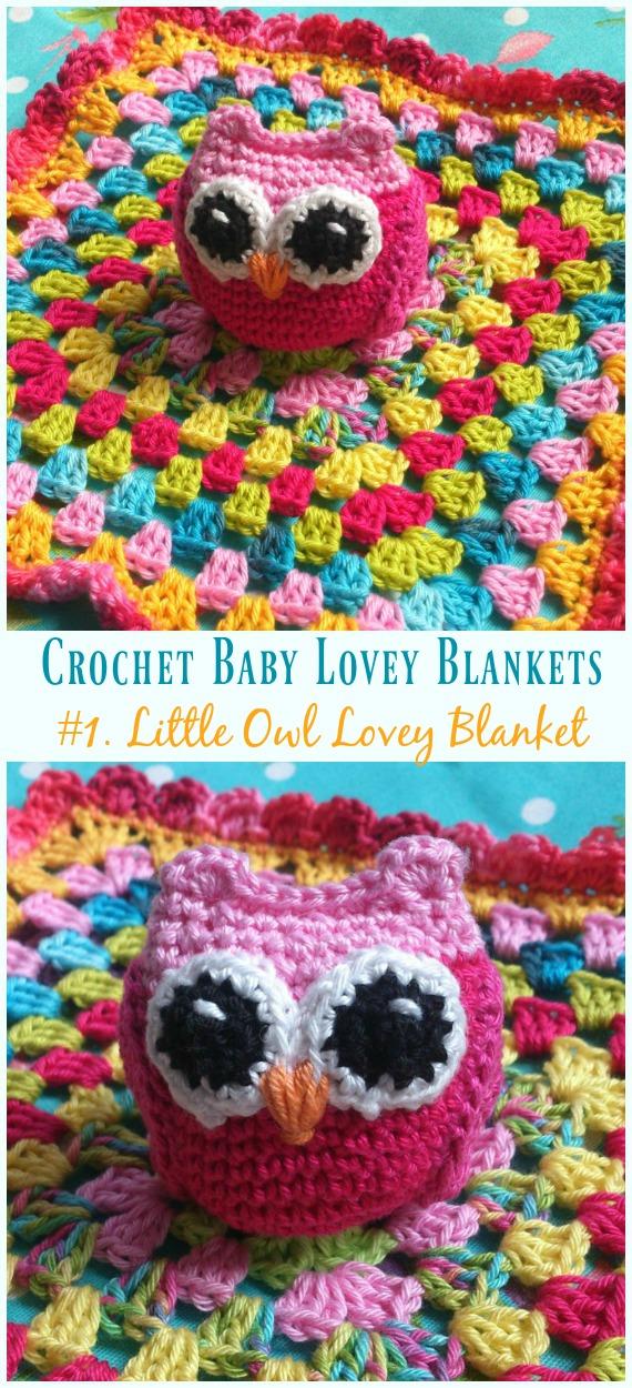 Little Owl Lovey Blanket Crochet Free Pattern - Baby #Lovey;  #Cobertor;  Consolador de segurança grátis #Crochet;  Padrões
