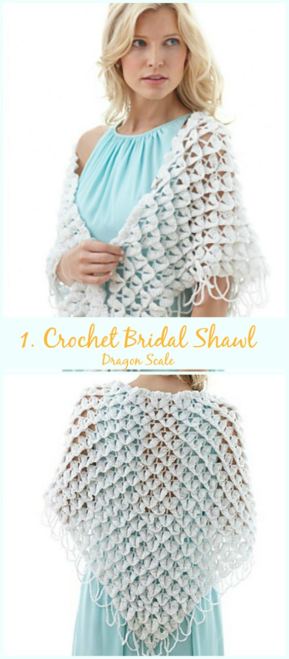 0643d15d2b63 Dragon Scale Bridal Shawl Free Crochet Pattern-Crochet Bridal Shawl Free  Patterns