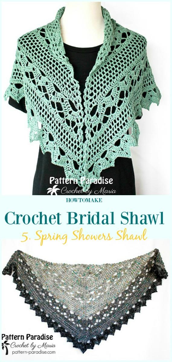 1a27eab30b86 Spring Showers Shawl Free Crochet Pattern-#Crochet; Bridal #Shawl; Free  Patterns