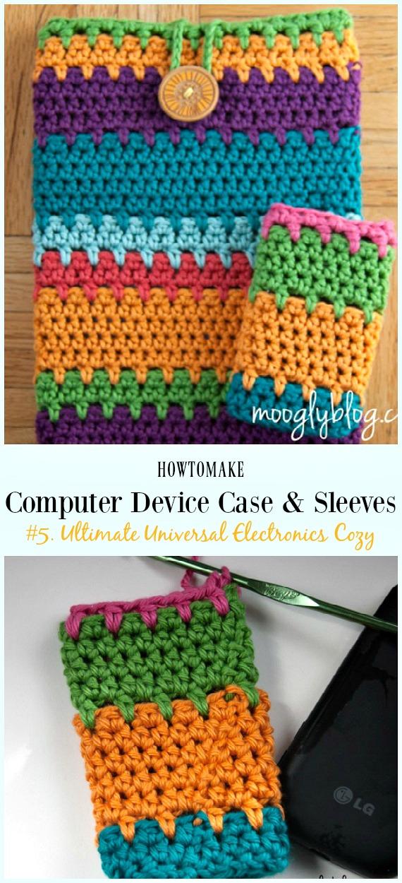 Ultimate Universal Electronics Padrão de Crochê Aconchegante - # Computador de Crochê # Estojo de Dispositivos Padrões de Mangas Aconchegantes Grátis