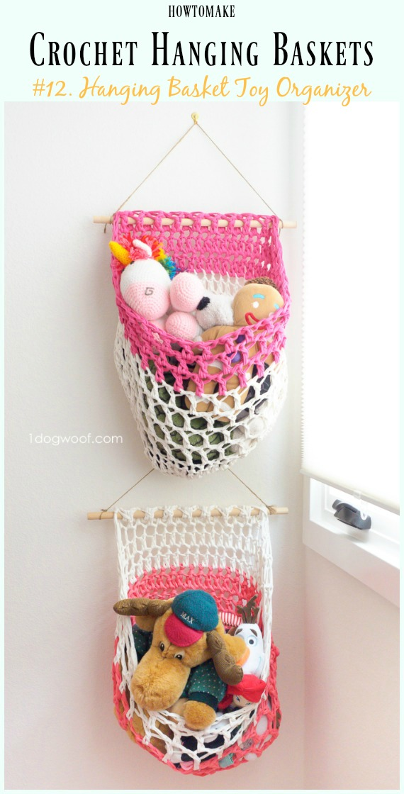 Crochet T Shirt Yarn Hanging Basket Toy Organizer Free Pattern