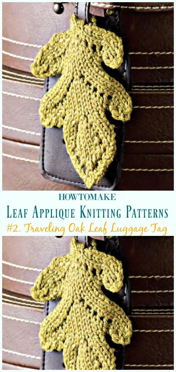 Etiqueta de bagagem de folha de carvalho viajando padrão livre de tricô- #Leaf;  Applique Free #Knitting;  Padrões