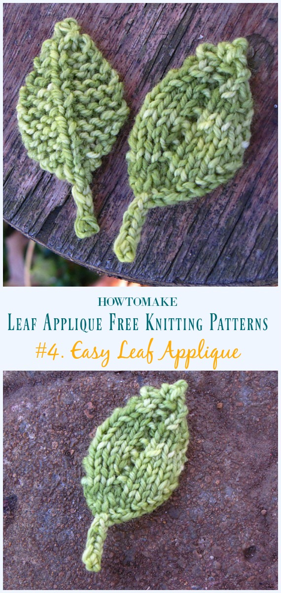 Easy Leaf Applique Knitting Free Pattern- #Leaf;  Applique Free #Knitting;  Padrões